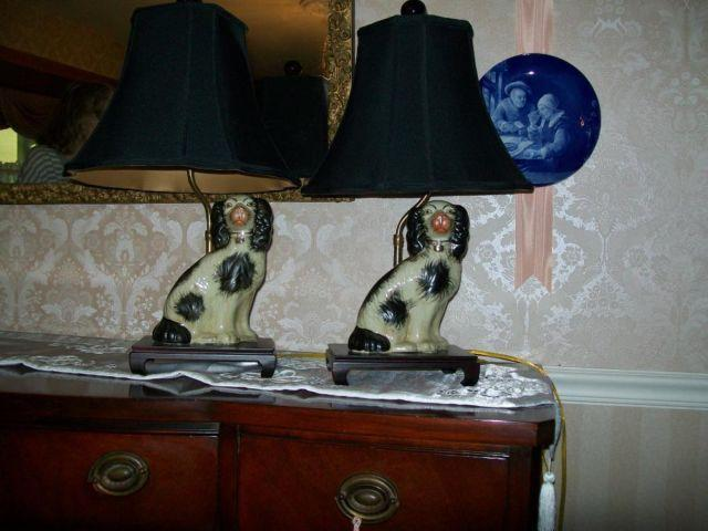 Carleton Varney Staffordshire Porcelain Dog Lamps Pair