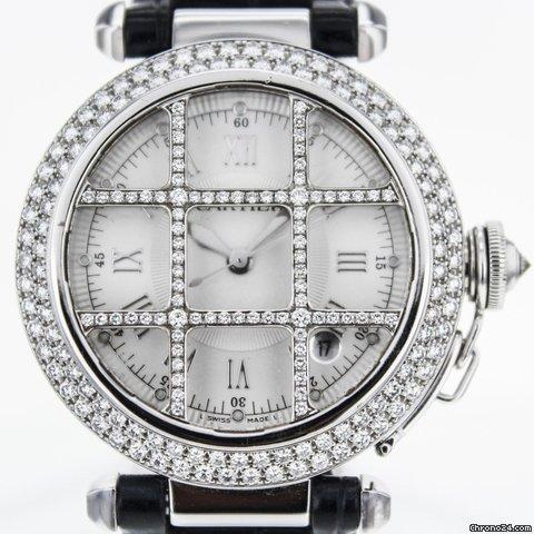 14333f69f0438 Cartier Pasha 38mm 18k White Gold Factory Diamond Bezel And Grid ...