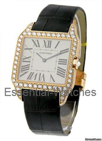 Cartier santos dumont w diamond case large size rose for Cartier in beverly hills