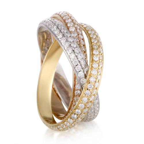 Cartier Trinity 18K Yellow White and Rose Gold Diamond