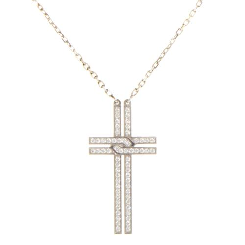 Cartier Women's 18K White Gold Diamond Pave Cross