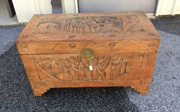 Carved chinese cedar chest - $175