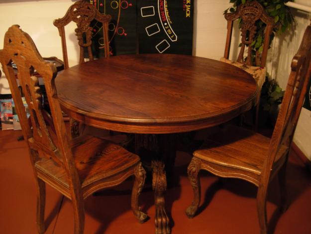 Carved Solid Oak Lion Claw Foot Table Amp Chairs For Sale In