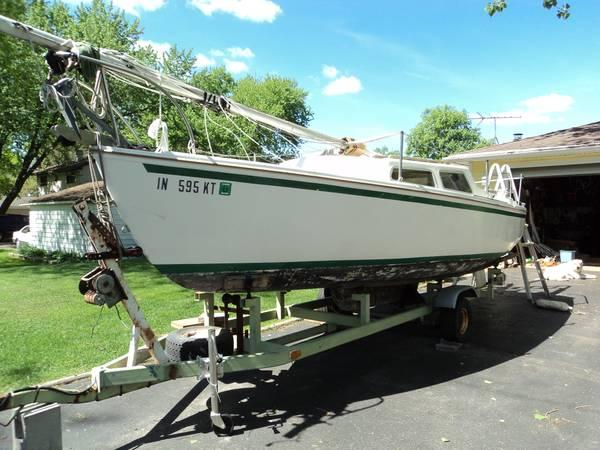 Catalina 22 sailboat, swing keel on trailer - $1450