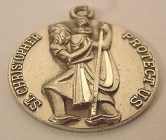 Catholic Saint Christopher Sterling Silver Round Medal.