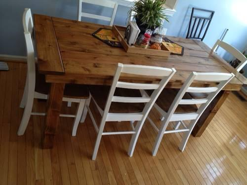 Cedar farmhouse table solid wood for sale in for Solid wood farmhouse table