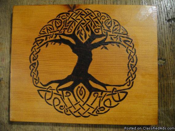 Celtic Tree Hand Wood Burned Plaque Knotwork Art