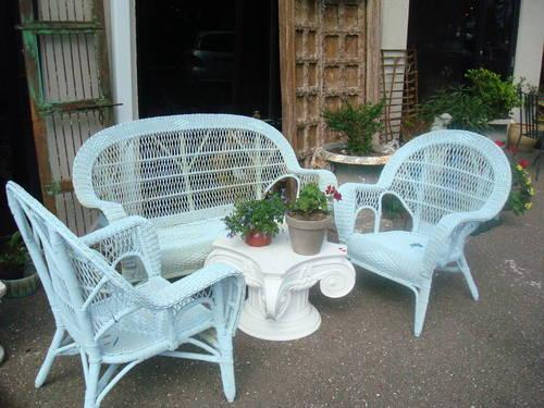 Chalk Painted Wicker Outdoor Furniture Love Seat And