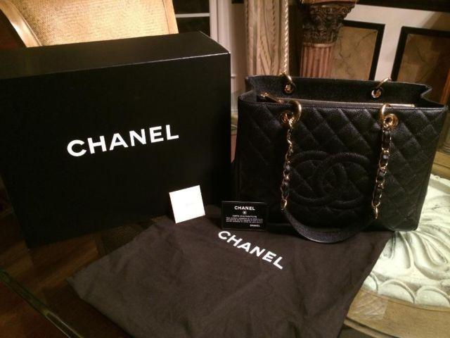 33dbec681204 Chanel Black Quilted Caviar Leather Grand Shopping Tote GST Bag for ...