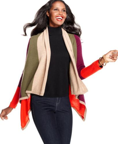 Charter Club Sweater, Long-Sleeve Colorblocked Asymmetrical-Hem Cashmere Cardigan