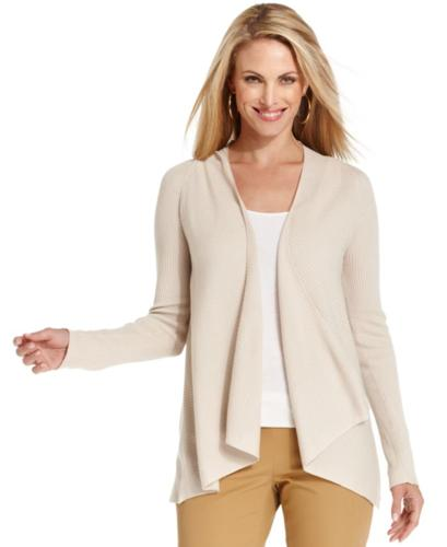 Charter Club Sweater, Long-Sleeve Ribbed Draped