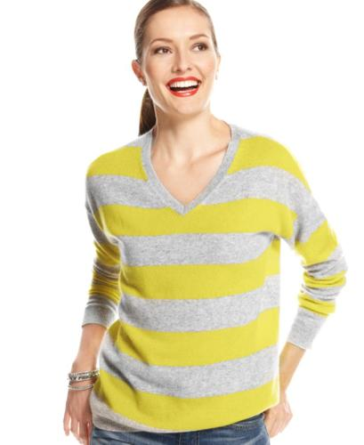 Charter Club Sweater, Long-Sleeve Striped V-Neck Cashmere