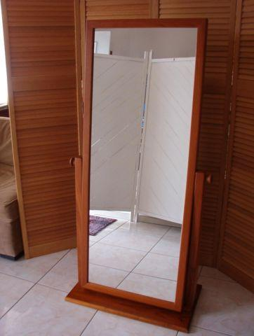 Check Style Bamboo Cheval Mirror.