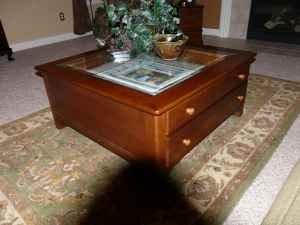 Cherry coffee table w glass display top and 2 drawers ...