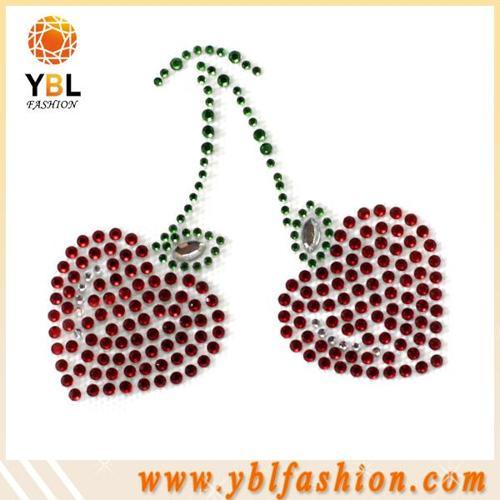 Cherry Fashion and apparel hotfix rhinestone motif design for garment