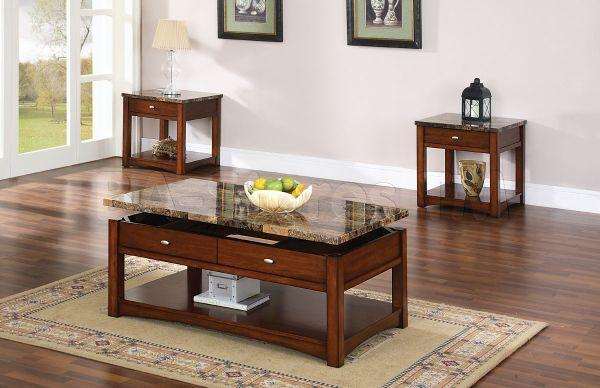 (((Cherry Finish Lift-Top Coffee Table & Set))) for Sale ...