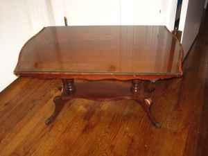 Cherry Glass Top Coffee Table Antique St Matthews For
