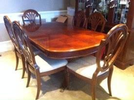 Cherry Mahogany Extendable Dining Room Table 8 Chairs For