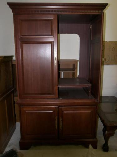 Cherry wood tv armoire entertainment center for sale in