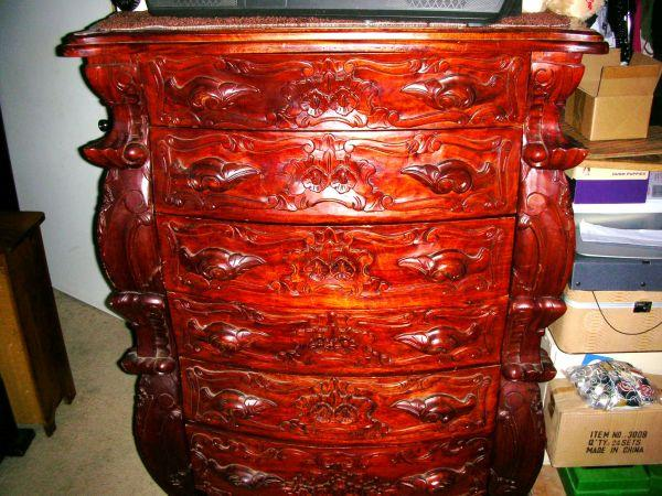 Chest Of Drawers Or Dresser Solid Hand Carved Mahogany