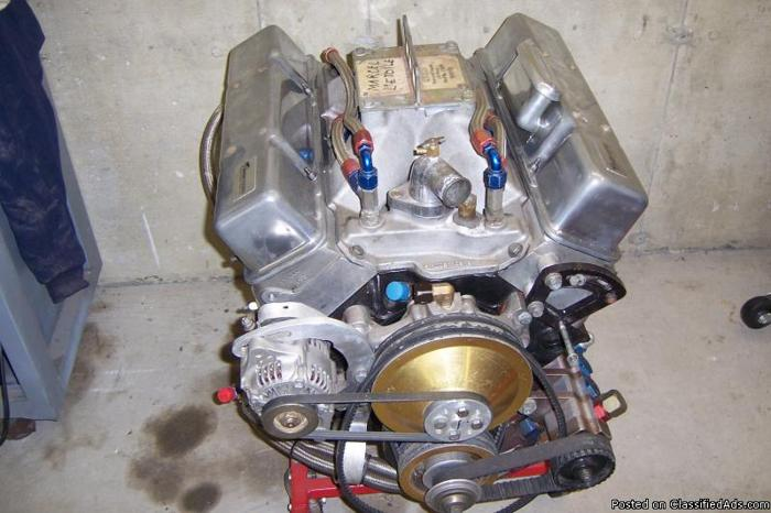 Chevy small block 370 cu in 23 degree race engine