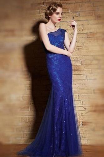 Chic Sheath One Shoulder Blue Lace Sweep Train Beading