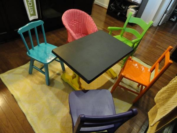 Child's Chair Set, Colorful! 4 chairs @ $15 each - $55