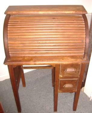 Childs Antique Roll Top Desk Swivel Chair For Sale In