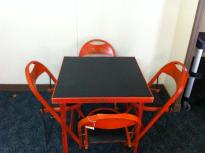 chinese red wooden game card table with 4 folding chairs mid