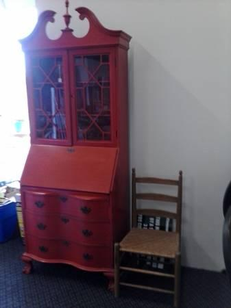 Chippendale Painted Secretary Desk W Claw Feet For Sale