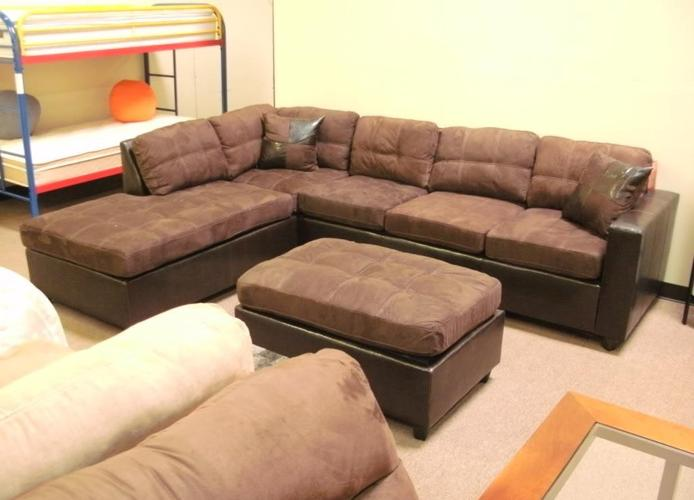 chocolate two tone microfiber sectional sofa new denver