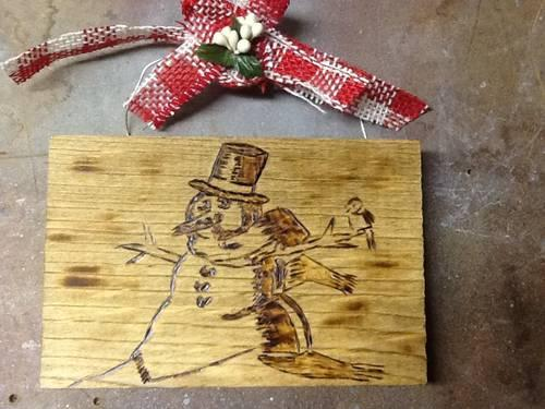Christmas Gift Wood Burn Snowman For Sale In Chester