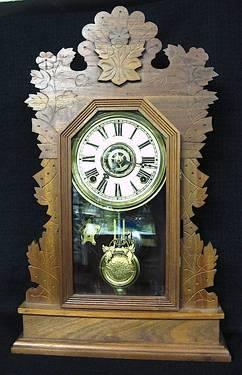 Circa 1900 Fancy Victorian Wood Kitchen Clock with