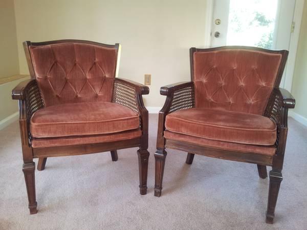 Club Chair Set   Hollywood Regency Style   Cane Arms