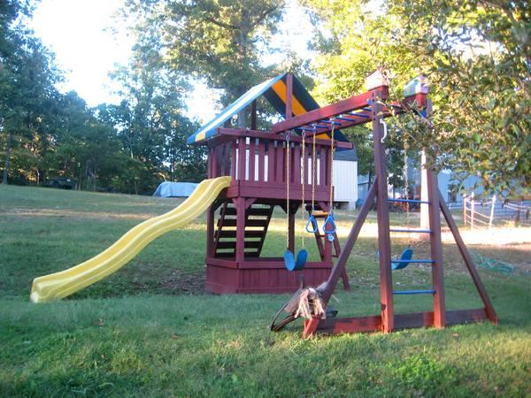 Club House Play Set New Stain Swings Amp Climbing Wall For