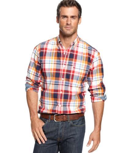 Club room big and tall shirt long sleeve madras shirt for for Big n tall shirts
