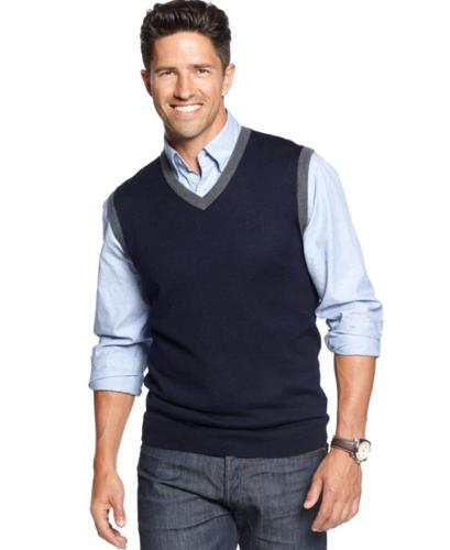 Club Room Big and Tall Sweater, Contrast Trim