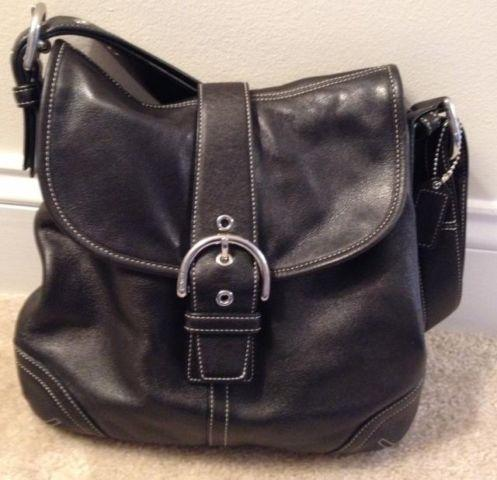Coach Black Leather Shoulder Handbag, Authentic Gently Used