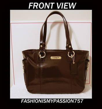 Coach Handbag Brown Gallery Patent Leather Zipper Tote F20431 NEW