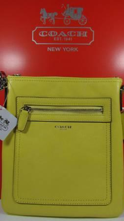 COACH LEMON YELLOW LEGACY LEATHER SWINGPACK CROSSBODY - $125