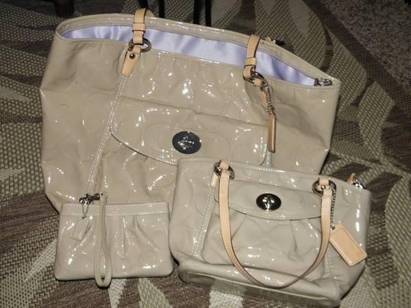 COACH Tan Beige Patent Leather Leah Tote Bag F14662 - SET  3 - $350