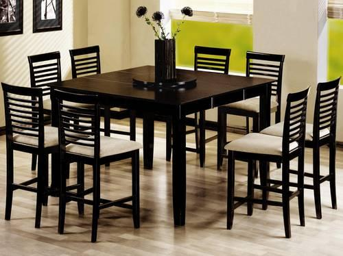 COASTER 9 PIECE PC BLACK COUNTER HEIGHT DINING SET