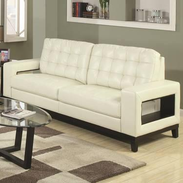 COASTER PAIGE CONTEMPORARY SOFA WITH CUTOUT ARMS AND TUFTED CUSHIONS For Sale