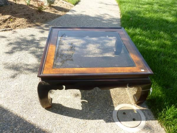 Coffee Table Asian Chow Legs Glass Inset For Sale In Palo Alto - Chow coffee table