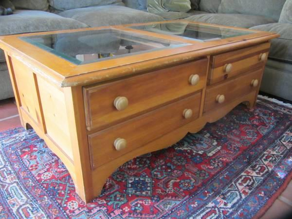 Coffee Table Glass Top And Drawers For Sale In San Mateo California Classified