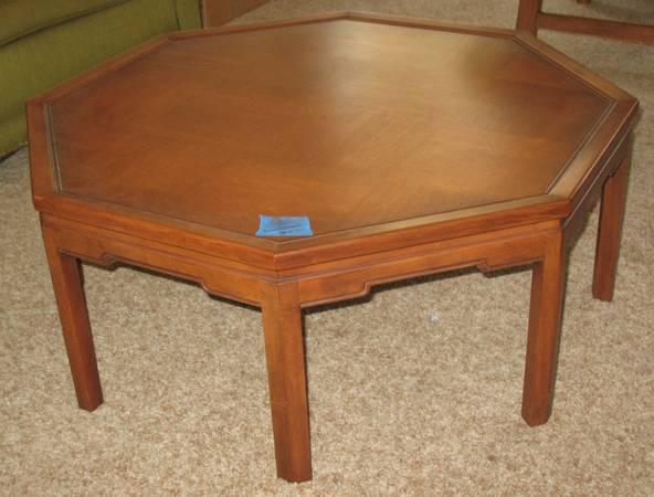 Coffee table octagon shape mid century asian style for 60s style coffee table