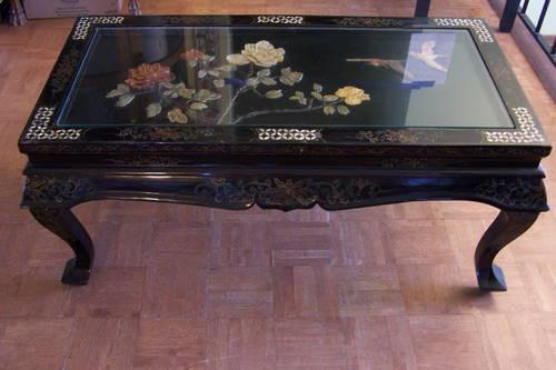 COFFEE TABLE ORIENTAL BLACK LACQUER CARVED VINTAGE