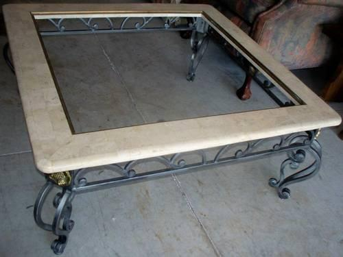 Coffee table solid marble and wrought iron solid brass for Stone and iron coffee table
