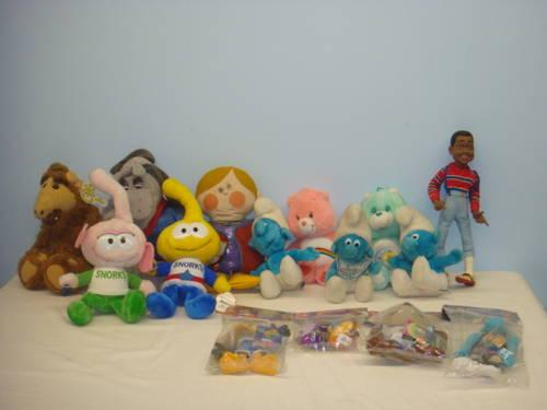 Collection Of 70 S 80 S 90 S Plush Toys Smurfs Care Bears Urkle