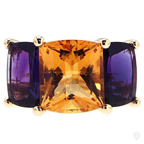 COLORI Citrine and Amethyst Three Stone Ring